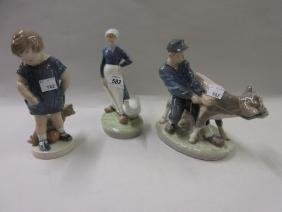 Royal Copenhagen figure of a goose girl and another of