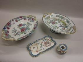 Late Dresden porcelain inkwell with tray together with