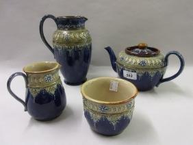 Royal Doulton four piece stoneware teaset with floral