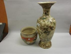 Large Kyoto pottery baluster form vase painted with