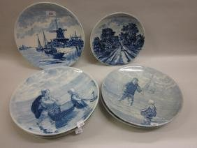 Group of seven 20th Century Delft blue and white