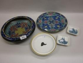 Three Royal Copenhagen dishes, Doulton plate and a