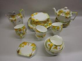 Thirty piece Grafton China teaset hand painted with