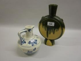 Oriental green glazed moon flask vase with stamped