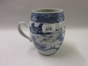 18th Century Chinese blue and white baluster form mug