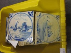 Group of twenty various 6in Delft ware tiles, painted