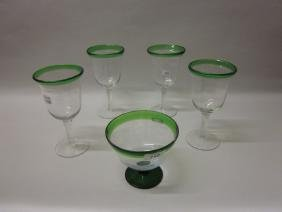 Four Art glass goblets together with a similar pedestal