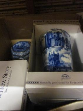 Collection of blue and white transfer printed pottery