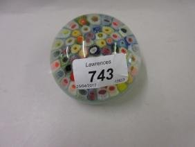 Millefiori glass paperweight