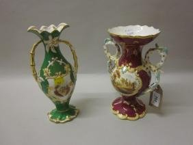 Two 19th Century English porcelain floral decorated two