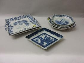 Six various Delft blue and white serving dishes and a