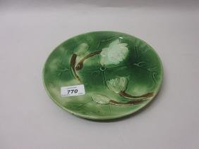 Joseph Holdcroft Majolica water lily plate, circa 1890