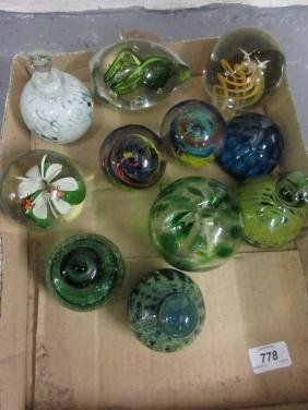 Quantity of various glass paperweights