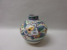1920's Poole pottery floral decorated vase of squat