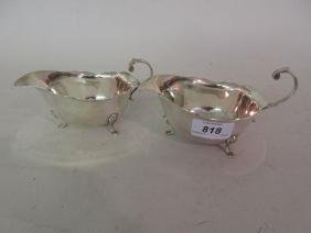Pair of modern London silver sauce boats in 18th