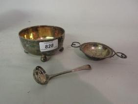 Victorian silver and silver gilt sugar bowl on ball