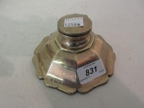 Birmingham silver octagonal shaped inkwell with cover