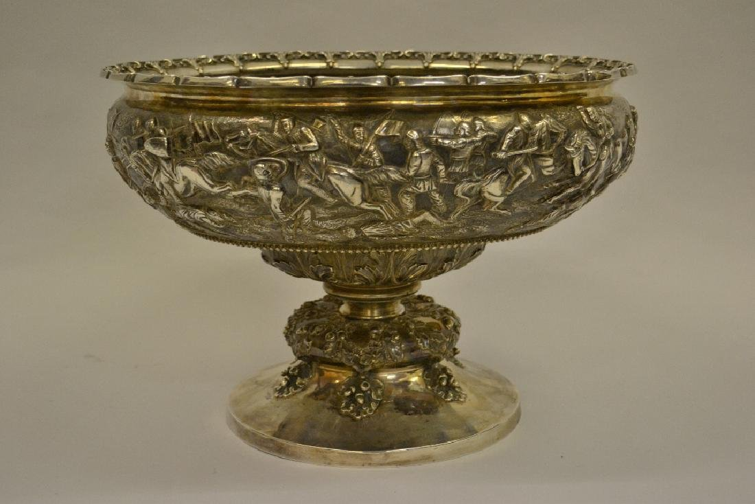 Fine and large Victorian silver punch bowl by Robert