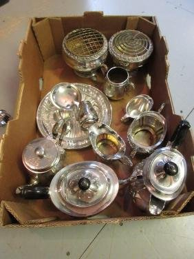 Silver plated four piece teaset, another three piece