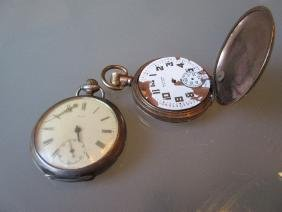 Omega open face pocket watch with plated case together