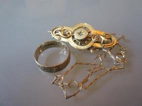 Victorian gold brooch, a gold ring and chain