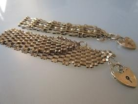 Two 9ct gold gate bracelets with padlock clasps