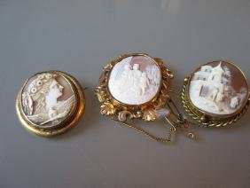Three various 19th Century carved shell cameo brooches