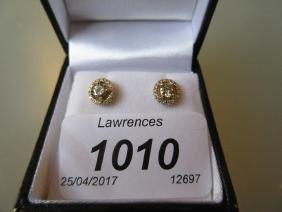 Pair of 18ct yellow gold halo design diamond set ear