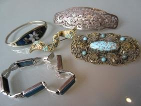 Silver marcasite and blue stone ring, together with a