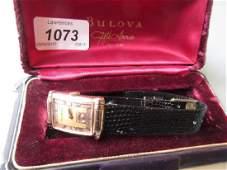 Gentleman's Bulova Art Deco wristwatch, the dial with