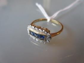 Sapphire and diamond dress ring, set with three square