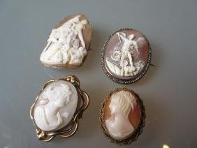 Three various carved shell cameo brooches together with
