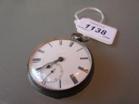 London silver cased open face pocket watch having