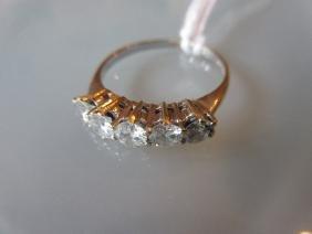 18ct White gold five stone diamond ring