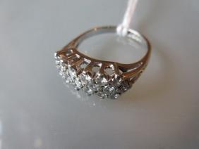 18ct White gold ring set three rows of diamonds