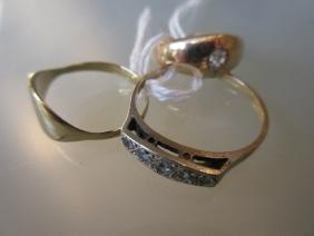 9ct Gold ring set five diamonds, gold diamond set gypsy