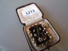 Victorian black enamel seed pearl and yellow metal
