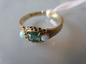 Victorian 15ct yellow gold green tourmaline and opal