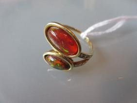 18ct Yellow gold ring set Mexican fire opals with