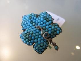 Victorian turquoise set serpent leaf brooch