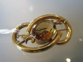 Victorian gold brooch set oval citrine