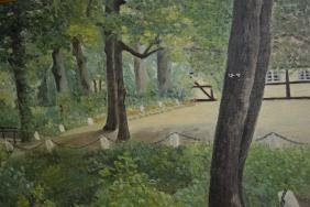 G. Back, oil on canvas, landscape, together with a