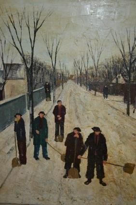 Cort Jacobsen, oil on canvas, street scene with figures