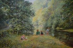 Ted Dyer, oil on canvas, children on a river bank,