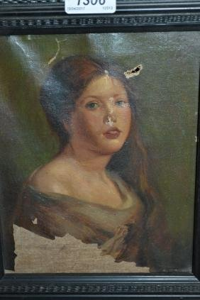 Small oil on canvas, portrait of a girl (a/f), oil on
