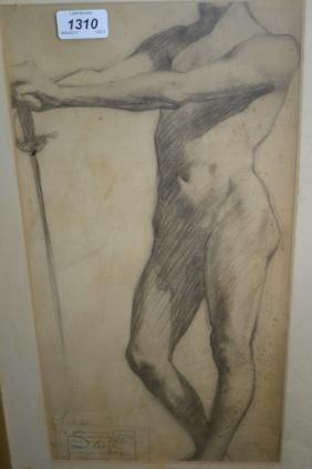 George Leech, charcoal drawing, male nude study,