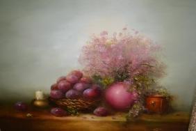 V. Levin, oil on canvas, still life, flowers, fruits
