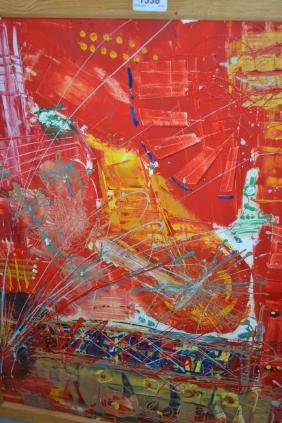 Acrylic on board, abstract, signed, Cankalis, bearing