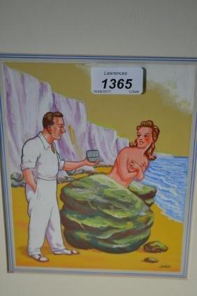 1960's Gouache illustration postcard entitled ' Would