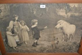 Early 20th Century oak framed monochrome print,